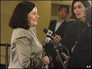Maria Luiza Ribeiro Viotti conversa com jornalistas nesta terça-feira em Nova York