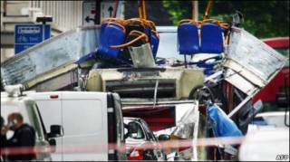 Развороченный взрывом автобус