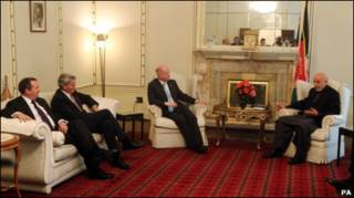 Британские министры и Хамид Карзай