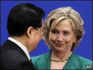 Hillary Clinton y Hu Jintao