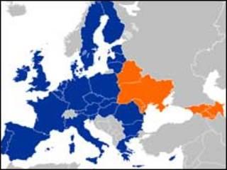 мапа. Червоний колір - країни Східного партнерства