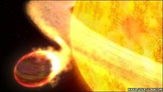 Gráfica de la estrella devorando a Wasp12-b (NASA)