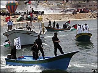 Botes en Gaza esperan la llegada de los activistas