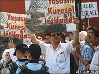 Manifestação contra Israel na Turquia