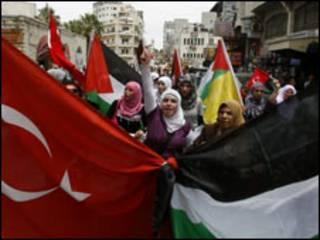 Manifestação em Ramallah
