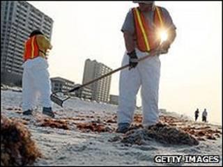 Trabajadores limpiando la costa de Pensacola, en Florida