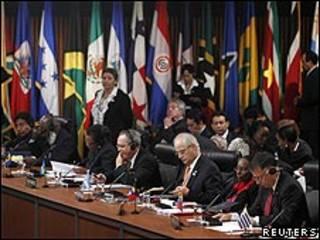 Cancilleres reunidos en la Asamblea General de la OEA en Lima