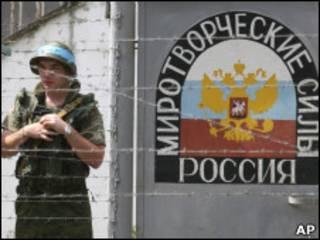 Российский военнослужащий в Абхазии (2008 год)