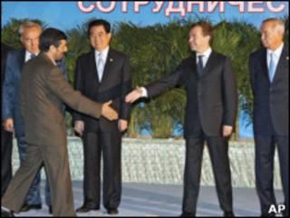 احمدی نژاد و رئیسان جمهوری روسیه و چین