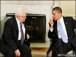 Obama y Abbas en la Casa Blanca.