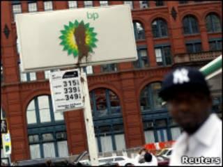 Placa manchada da British Petroleum