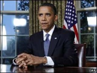 O presidente dos Estados Unidos, Barack Obama, logo após fazer pronunciamento nesta terça-feira (AP)