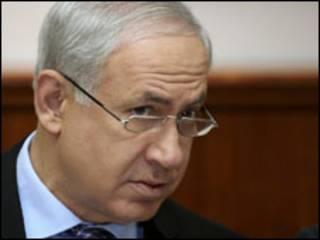 O primeiro-ministro israelense Binyamin Netanyahu durante reunião de seu gabinete neste domingo (Reuters)