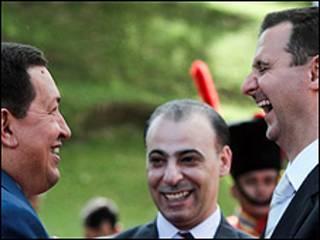 Los presidentes de Venezuela, Hugo Chávez, y de Siria, Bashar al-Assad.