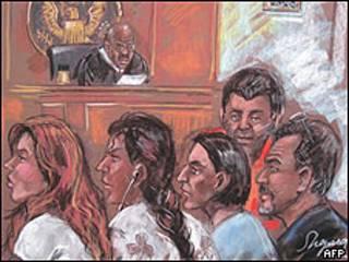 Dibujo de los supuestos espías en su comparecencia ante un juez de Nueva York