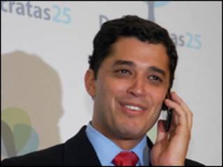 O candidato a vice na chapa de José Serra, Indio da Costa, durante convenção do DEM  (Renato Araujo/ABr)