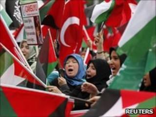 Manifestação na Turquia contra o ataque israelense