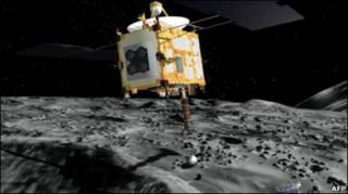"""Зонд """"Хаябуса"""" на поверхности астероида"""