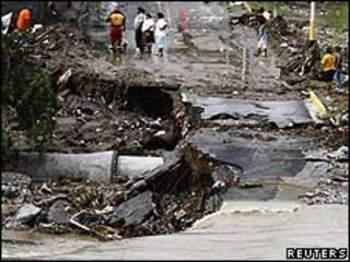 Destrozos causados por Alex en el Realito, Guadalupe, México.