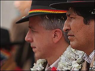 Álvaro García Linera, junto al presidente Evo Morales.