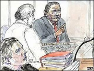 Representação artística de Noriega na Justiça francesa