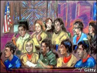 Dibujo de los presuntos espías en su declaración ante el juez