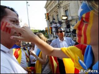 Manifestantes en Cataluña