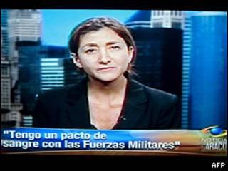 Imagen de la entrevista televisada a Ingrid Betancourt