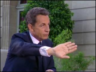Президент Саркози в ходе выступления