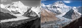 Фотгографии Эвереста - 1921 года и в современности