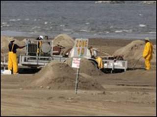 Dọn dẹp trên bãi biển Louisiana
