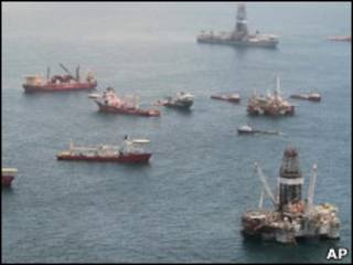 Embarcaciones en el Golfo de México