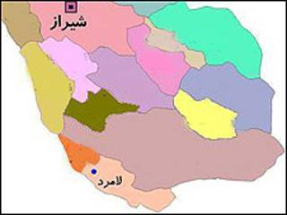 نقشه جنوب فارس - منبع: شرکت آب و فاضلاب استان