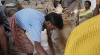 चावल का वितरण