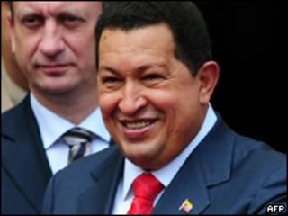 O presidente venezuelano Hugo Chávez durante cerimônia em Caracas nesta sexta-feira (AFP, 23 de julho)