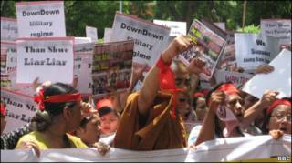 burmese protest against general than swe