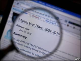 Imagem do site Wikileaks nesta segunda-feira (AFP, 26 de julho)