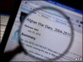 Tela do dossiê do Wikileaks sobre a guerra no Afeganistão
