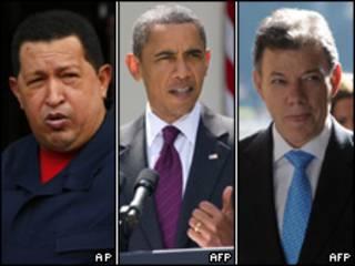 Hugo Chávez, Barack Obama y Juan Manuel Santos.