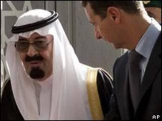 Rei saudita, Abdullah bin Abdel Aziz e presidente sírio, Bashar al-Assad