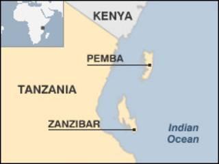 Ramani ya Tanzania kuonyesha Zanzibar.
