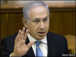 O primeiro-ministro de Israel, Binyamin Netanyahu, durante reunião de seu gabinete no último domingo (Reuters, 1 de agosto)