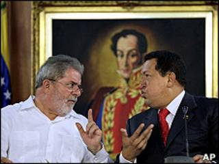 Presidentes Luiz Inacio Lula da Silva y Hugo Chávez