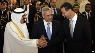 ملک عبدالله، میشل سلیمان و بشار اسد