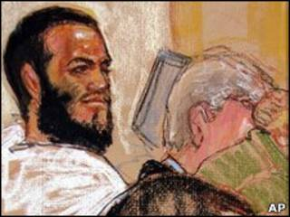 Ilustração mostra Omar Khadr na abertura do julgamento