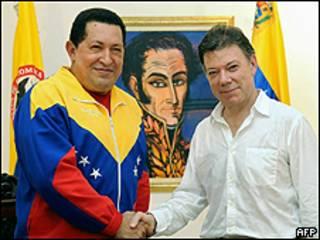 Hugo Chávez e Juan Manuel Santos