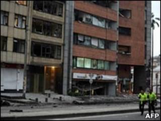 Local da explosão em Bogotá