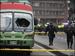 Local da explosão em Bogotá/AP