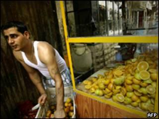 Vendedor de laranjas no Líbano