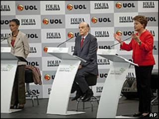 Candidatos brasileños debatiendo en TV